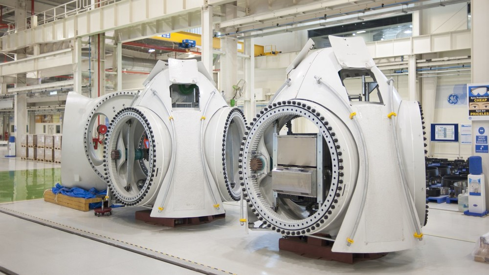 Wind turbine housings fabricated at the GE plant in Chakan, India.